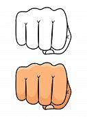 Fist Punch Vector Illustration. Strong And Power Man Symbol. Fist Power, Strong Hand Human Arm poster