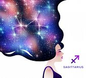 Sagittarius Zodiac Vector Illustration. Astrological Calendar Symbol As Female Character. Space And  poster