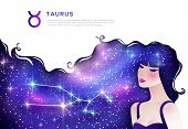 Taurus Zodiac Sign Web Banner Template. Astrological Article. Horoscope Symbol As Female Cartoon Cha poster