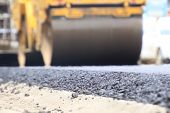 Road Construction Asphalt Road By Worker And Roller Machine. Asphalt Road Background poster