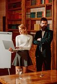 Internet Concept. Business Man And Woman Use Internet To Exchange Web Documents With Global Network  poster