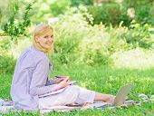 Stay Free With Remote Job. Managing Business Remote Outdoors. Woman With Laptop Sit Grass Meadow. Be poster