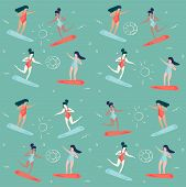 Trendy Retro Vintage Style Vector Summer Vacation Pattern Illustration: Women And Girls Surfing On S poster