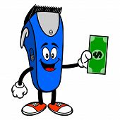 Electrical Hair Clipper Mascot With A Dollar - A Vector Cartoon Illustration Of A Barber Shop Electr poster
