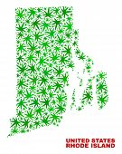 Vector Cannabis Rhode Island State Map Mosaic. Concept With Green Weed Leaves For Weed Legalize Camp poster