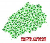 Vector Cannabis Saint Helena Island Map Mosaic. Template With Green Weed Leaves For Weed Legalize Ca poster