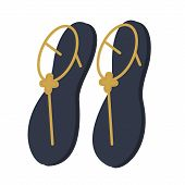 Women Summer Sandals Flat Illustration. Home, Travel And Lifestyle Series. poster
