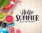 Hello Summer Vector Background. Summer Text In Wood Textured Background With Colorful Beach Elements poster