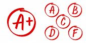 School Grade Results Vector Icons. Letters And Plus Grades Marks In Red Circle poster
