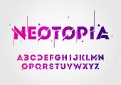 Vector Illustration Abstract Technology Neon Font And Alphabet. Techno Effect Logo Designs. Typograp poster