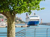 Historic Port Area Of Nice. Cruise Ship Near Coastline Of Nice poster