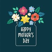 Happy Mothers Day Typography Lettering Poster On Floral Frame Background. Text And Flat Flowers In V poster