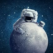 Astronaut In Outer Space. Conceptual Image. Elements Of This Image Furnished By Nasa poster