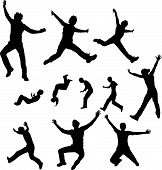 stock photo of person silhouette  - Some vector silhouettes of jumping people on white - JPG