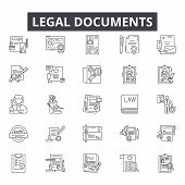 Legal Documents Line Icons For Web And Mobile Design. Editable Stroke Signs. Legal Documents  Outlin poster