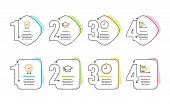 Graduation Cap, Time And Certificate Icons Simple Set. Horizontal Chart Sign. University, Office Clo poster