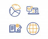 Online Survey, Pie Chart And Engineering Documentation Icons Simple Set. Globe Sign. Quiz Test, Pres poster