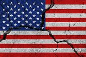 United States Of America Flag On The Cracked Earth. National Flag Of United States Of America. Earth poster