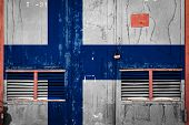 Close-up Of Old Warehouse Gate With National Flag Of Finland. Concept Of Finland Export-import, Stor poster
