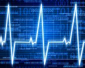 image of blue-screen-of-death  - Heart monitor on a dark blue background - JPG