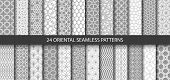 Big Set Of 24 Vector Ornamental Seamless Patterns. Collection Of Geometric Patterns In The Oriental  poster