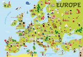 Funny Cartoon Map Of Europe With Childrens Of Different Nationalities, Representative Monuments, Ani poster