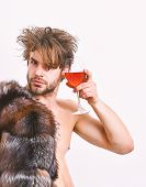 Richness And Luxury Concept. Rich Athlete Enjoy His Life. Guy Attractive Rich Posing Fur Coat On Nak poster