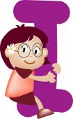 picture of alphabet letters  - Happy kid playing with Alphabet letter I - JPG