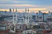 Ankara, Turkey - A sunset scene from the Capital City of Turkey with Kocatepe Mosque and other monum poster