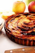 Apple Tart. Gourmet Traditional Holiday Apple Pie Sweet Baked Dessert Food With Cinnamon And Apples poster