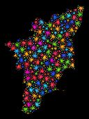 Bright Vector Marijuana Tamil Nadu State Map Collage On A Black Background. Template With Bright Wee poster