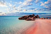 Crete Skyline. Elafonissi Beach With Pink Sand Against Blue Sky With Clouds On Crete, Greece poster