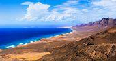 wild beauty of volcanic island Fuerteventura. impressive Cofete beach Canary islands of Spain poster