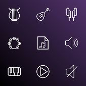 Multimedia Icons Line Style Set With Play, Mute, Play List And Other Soundless Elements. Isolated Ve poster