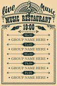Vector Poster For Music Restaurant With Live Music With Treble Clef. A Daily Schedule Of Musical Per poster
