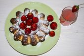 A Berry Dessert With Coffee And Cream And Hot Chocolate Stands On A White Table Outside. Lunch With  poster