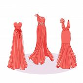 Model Dresses For Prom, Ball, Solemn Event. Ruffles And Ornaments On The Dress. Clothing Design. poster