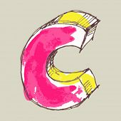 childlike gouache alphabet, hand drawn letter C