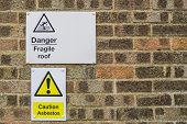 Signs And Notification Of Attention And Danger Hanging On A Wall. Danger Fragile Roof. Caution Asbes poster