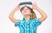 Child Play Virtual Games With Modern Device. Explore Virtual Opportunity. Newest Kids Virtual Realit poster