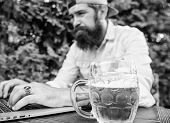 Fan Bet Online Championship While Sit Terrace Outdoors With Beer. Football Fan Bearded Hipster Make  poster