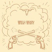 Wild West Illustration With Cowboy Guns And Burst Space For Western Text On Old Background. poster