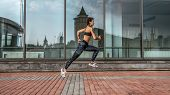 Motivation In Motion Girl Jump, Active Lifestyle, Jogging And Running In City In Summer In Fresh Air poster