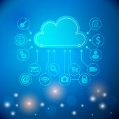 Cloud Computing Concept Background With A Lot Of Icons. Cloud Technology. Cloud Computing Technology poster