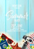 Invitation Poster For Summer Party. Promo Flyer With Realistic Seashells, Starfishes And Vacation Th poster