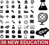 50 education & school icons set, vector