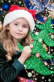 Christmas, kid, Christmas tree - lovely girl at Christmas time
