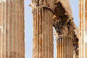 stock photo of olympian  - The Temple of Olympian Zeus also known as the Olympieion or Columns of the Olympian Zeus is a colossal ruined temple in the centre of the Greek capital Athens that was dedicated to Zeus king of the Olympian gods - JPG