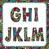 G, H, I, J, K, L, M. Letters of alphabet with ethnic motifs.