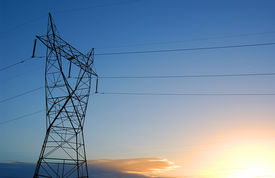 foto of power lines  - sunrise and power lines - JPG